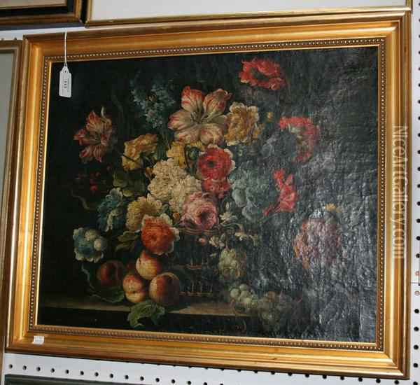 Still Life Study Of Summer Flowers In A Basket Oil Painting - Pieter Casteels