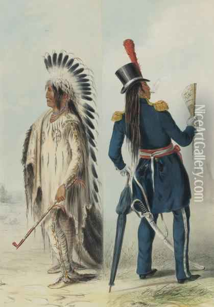 North American Indian Oil Painting - George Catlin