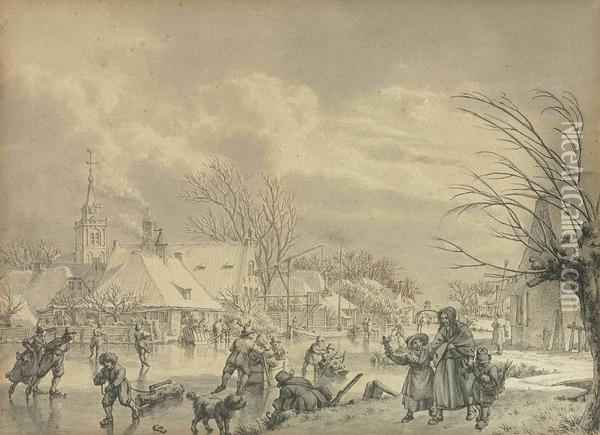 The Month Of December: Skaters On A Frozen River With A Village Beyond Oil Painting - Jacob Cats