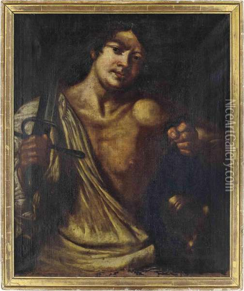David With The Head Of Goliath Oil Painting - Bernardo Cavallino