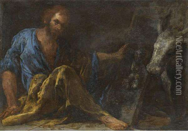 Saint Luke Oil Painting - Bernardo Cavallino
