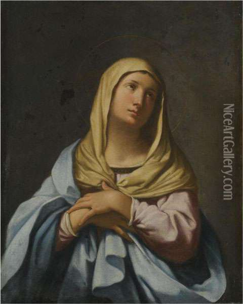 The Madonna In Prayer Oil Painting - Giovanni Domenico Cerrini