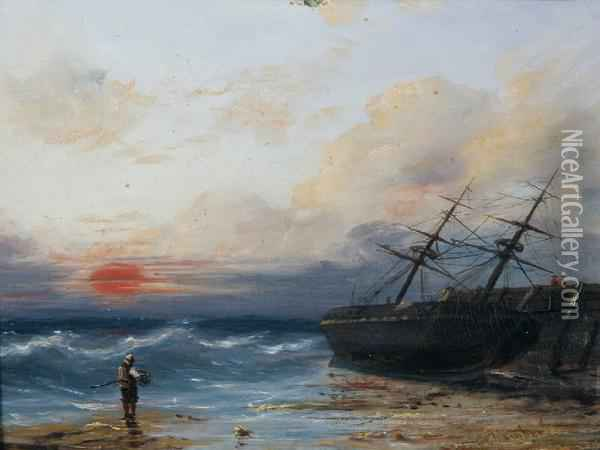 A Figure And A Ship On A Shoreline At Sunset Oil Painting - G. Chambers