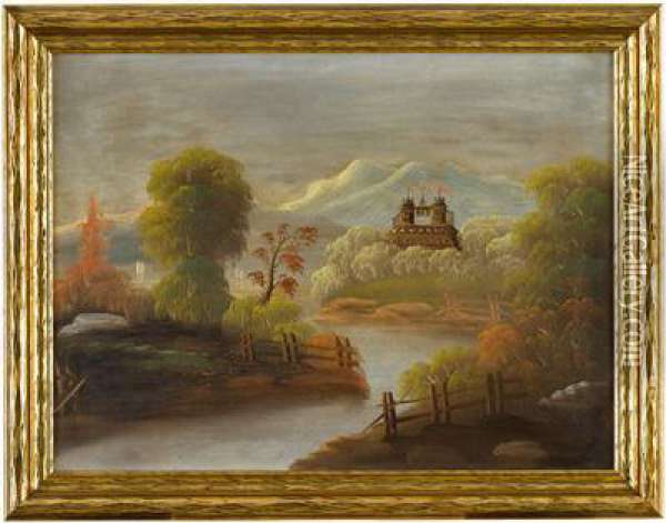 Landscape With Castle Oil Painting - Thomas Chambers