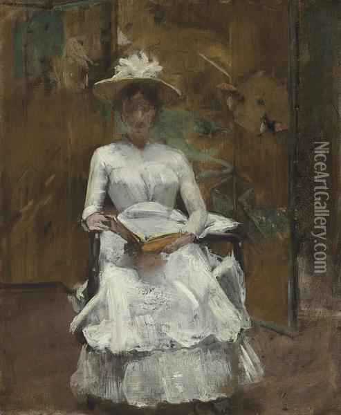 Lady In White Oil Painting - William Merritt Chase
