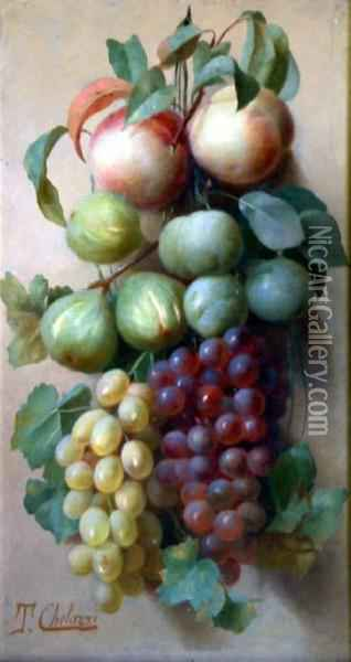 Italian Oil On Wooden Panel Still Life Of Hanging Fruit Signed 19.5 X 10.5in Oil Painting - Tito Chelazzi