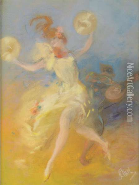 Dancing Woman Oil Painting - Jules Cheret