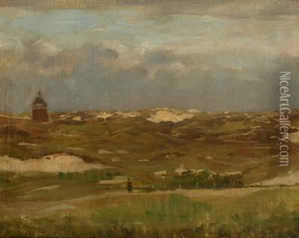 A Study Of A Landscape With Houses Oil Painting - Antonin Chittussi