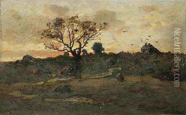 A French Landscape At Sunset Oil Painting - Antonin Chittussi