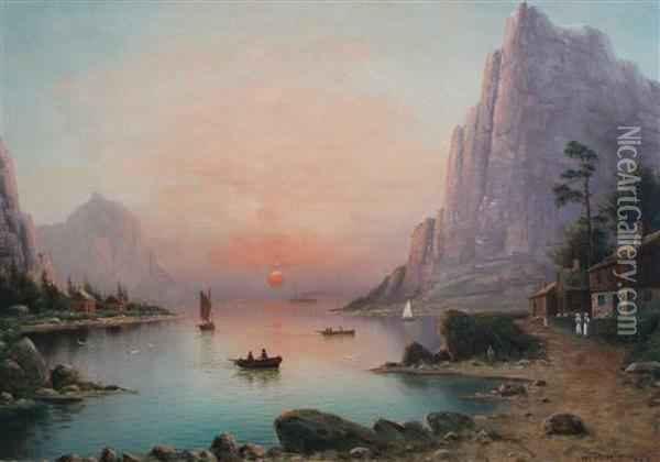 Fjords By Day And Night Oil Painting - Nils Hans Christiansen