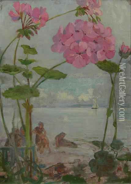 From A Garden By The Sea Oil Painting - James Elder Christie