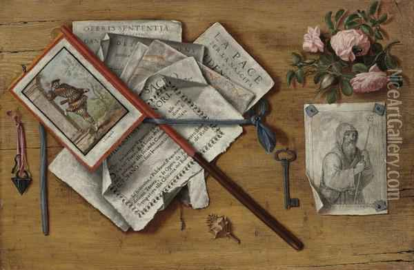 A Trompe L'oeil Still Life With Letters And Other Objects On Aboard Oil Painting - Antonio Cioci or Ciocchi
