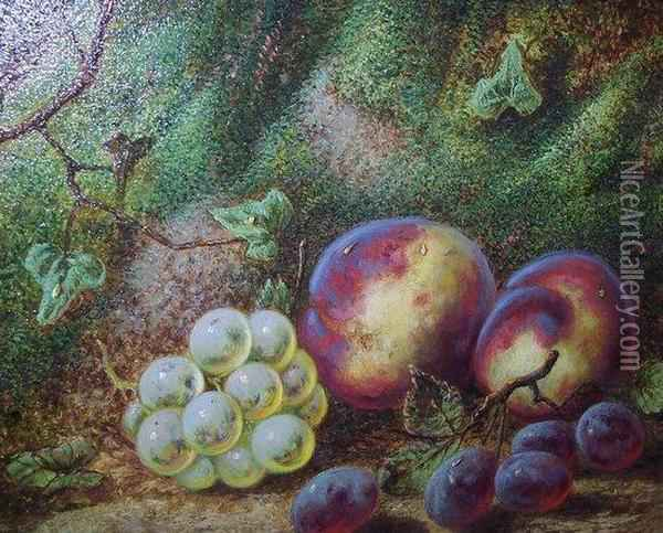 Fruit On A Mossy Bank Oil Painting - George Clare