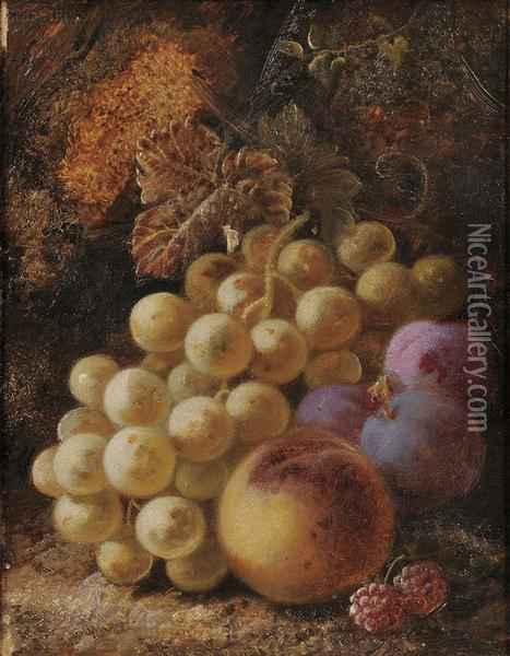 Still Life With Grapes,  Peach,  Plums,  And Raspberries Oil Painting - George Clare