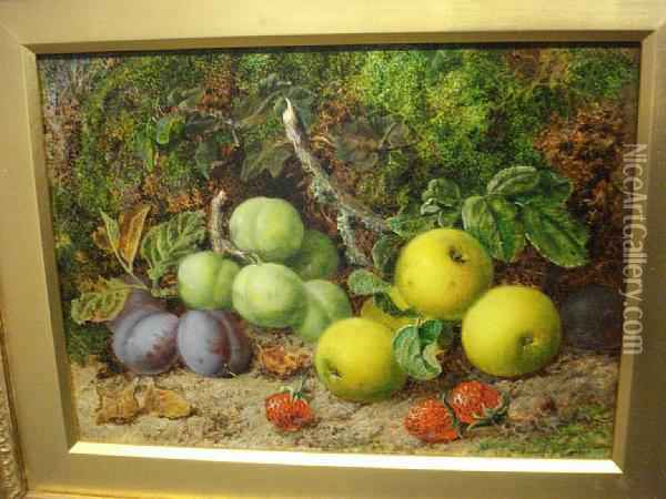 Still Life Fruits And Leaves Oil Painting - George Clare