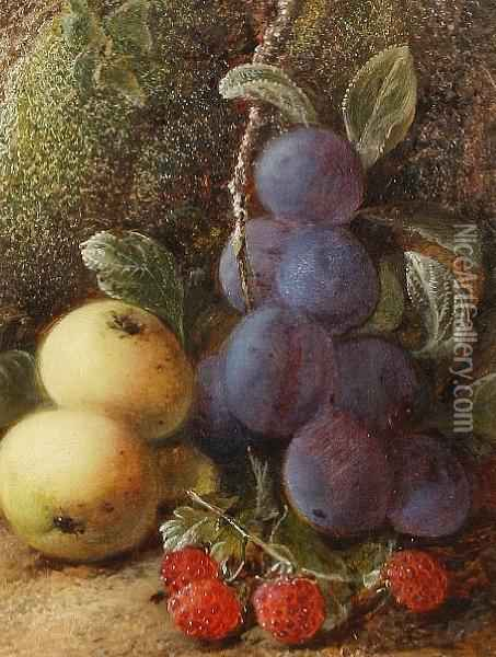 Still Lifes Of Apples, Plums And Raspberries Oil Painting - George Clare