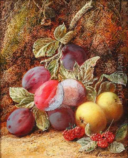 Still Life Of Plums, Raspberries And Apples Ona Mossy Bank Oil Painting - George Clare