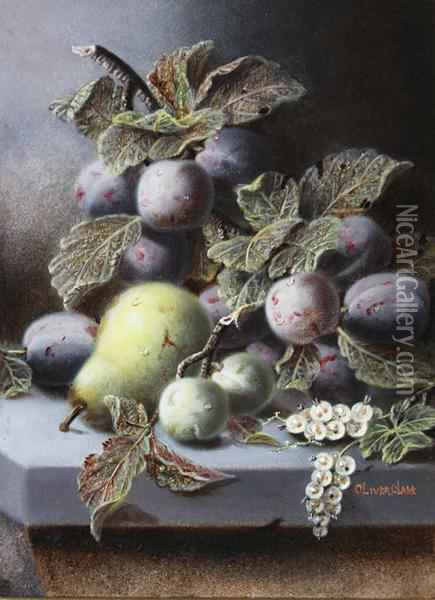 Plums, Greengages, White Currants And A Pear On A Stone Ledge Oil Painting - Oliver Clare