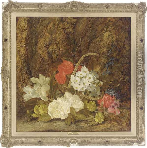 Roses, Primroses, Lilies, Daisies And A Wicker Basket On A Mossy Bank Oil Painting - Vincent Clare