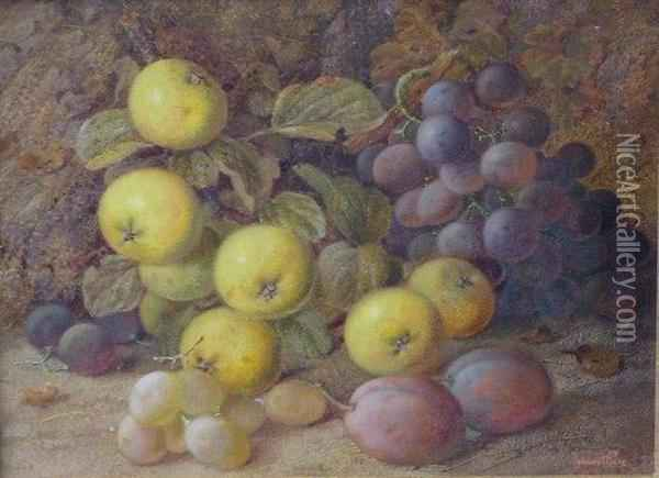 Grapes, Apples And Plums On A Mossy Bank Oil Painting - Vincent Clare