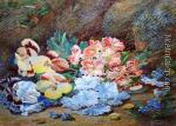 Primula And Violas On A Mossy Bank Oil Painting - Vincent Clare