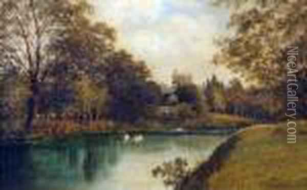 Windsor Castle From The River Oil Painting - Octavius Thomas Clark
