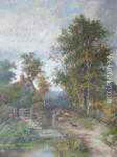 Driving Sheep In A Country Lane Oil Painting - Octavius Thomas Clark