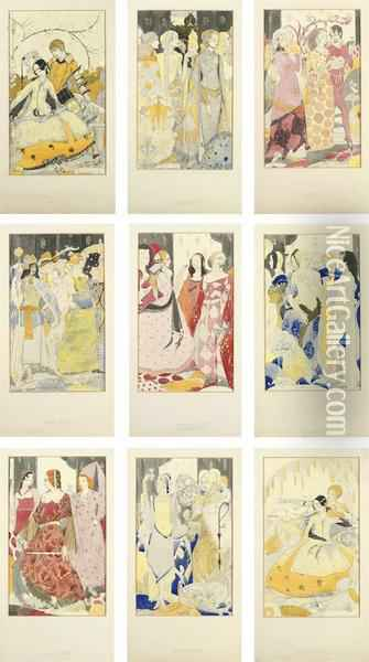 Nine Full-scale Preparatory Studies For A Series Of Stained Glass Panels, Illustrating John Millington Synge's Poem Queens Oil Painting - Harry Clarke
