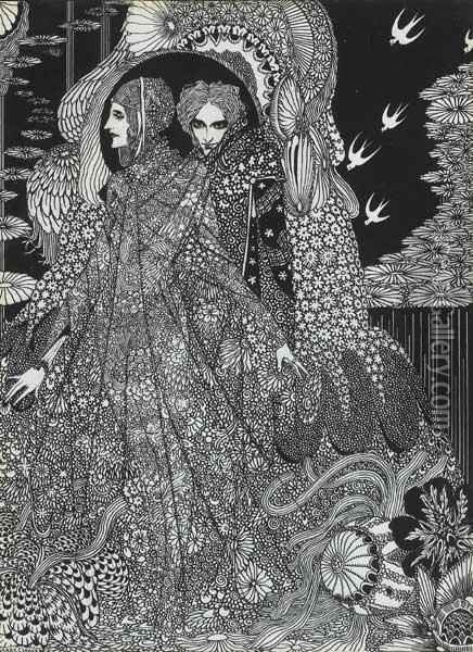 The Colloquy Of Monos And Una Oil Painting - Harry Clarke