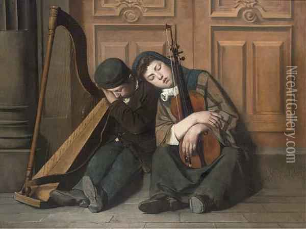 The Slumbering Street Musicians Oil Painting - P. Clement