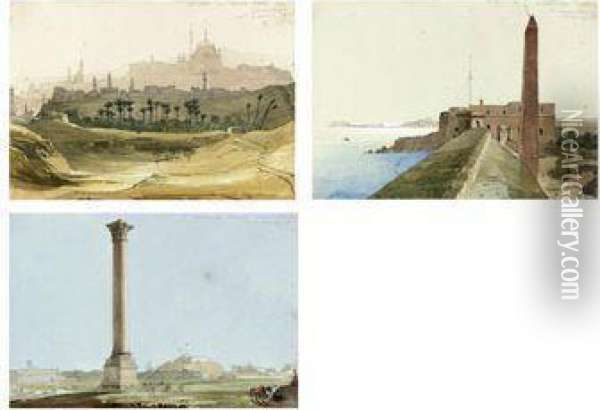 The Citadel Of Cairo From The Environs; Cleopatra's Needle,alexandria; And Pompey's Pillar, Alexandria Oil Painting - William Clerihew