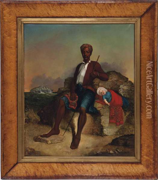A Man And Child On Land In Front Of A Ship Wreck Oil Painting - J.H. Cobley