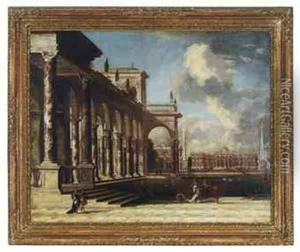 Elegant Figures On Palatial Grounds Oil Painting - Leonardo Coccorant