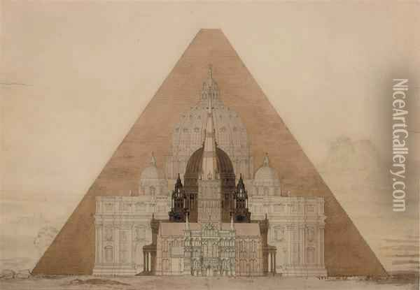 The Comparative Height Of The Great Pyramid At Giza With St Peter's Basilica, Rome, St Paul's Cathedral, London, And Salisbury Cathedral, With The Sphinx And The Acropolis, Athens, Beyond Oil Painting - Charles Robert Cockerell