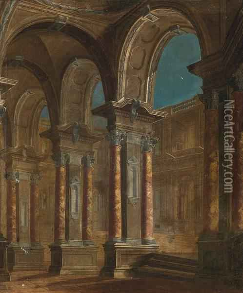 An Architectural Capriccio Of A Palace Courtyard Oil Painting - Viviano Codazzi