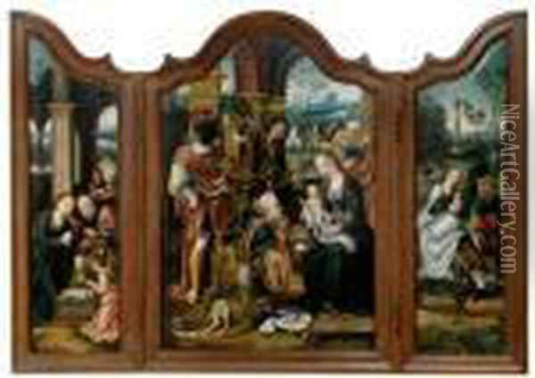 Triptych: Adoration Of The Kings, The Holy Family, The Flight Into Egypt Oil Painting - Pieter Coecke Van Aelst