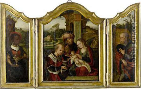 A Triptych: The Adoration Of The Magi Oil Painting - Pieter Coecke Van Aelst
