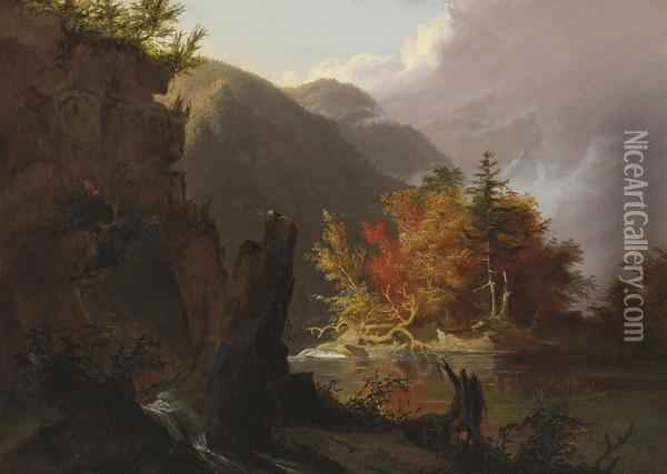 View In Kaaterskill Clove Oil Painting - Thomas Cole