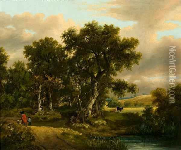 Figures In A Wooded Country Lane Oil Painting - Samuel David Colkett