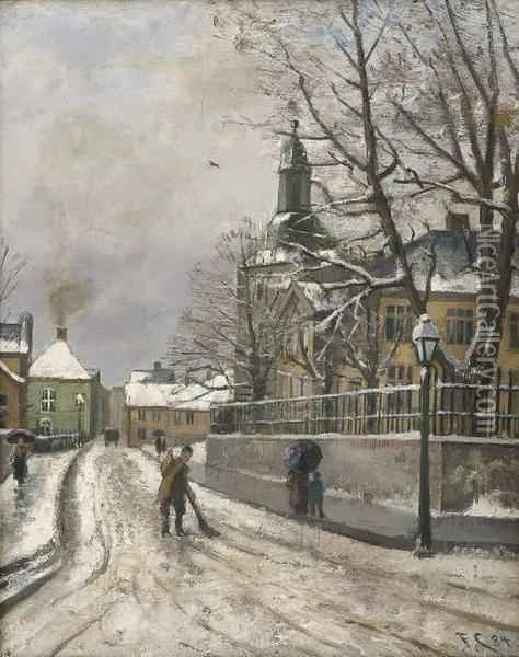The Bergen Cathedralschool And Cathedral Oil Painting - Fredrik Collett