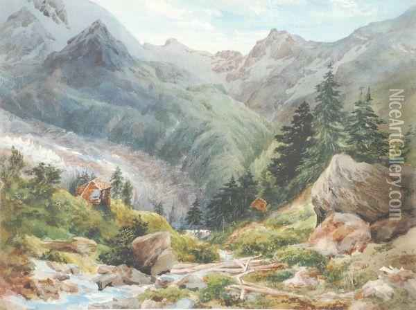 The Outfall Of The Garner Glacier Oil Painting - William Collingwood Smith