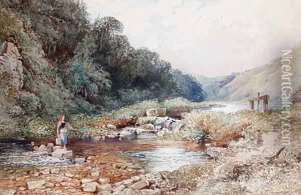 Crossing The Ford Oil Painting - William Collingwood Smith