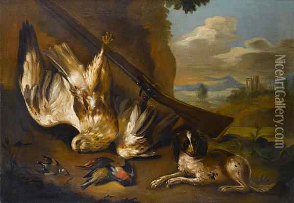 A Spaniel With A Dead Sparrowhawk, Goldfinch And Finch, With A Flintlock Beside A Tree, A View To A Landscape Beyond Oil Painting - Charles Collins