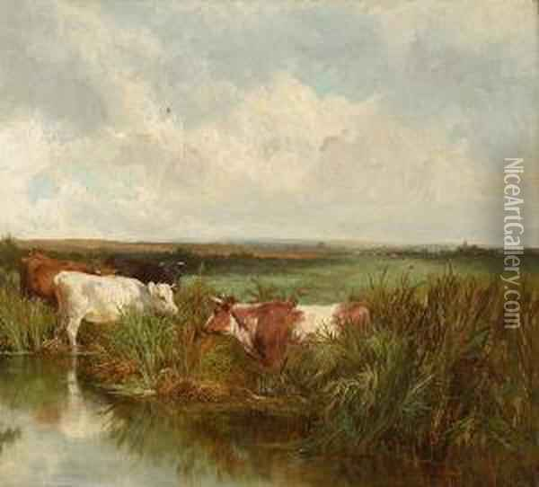Kuhe Am Weiher. Oil Painting - Charles Collins