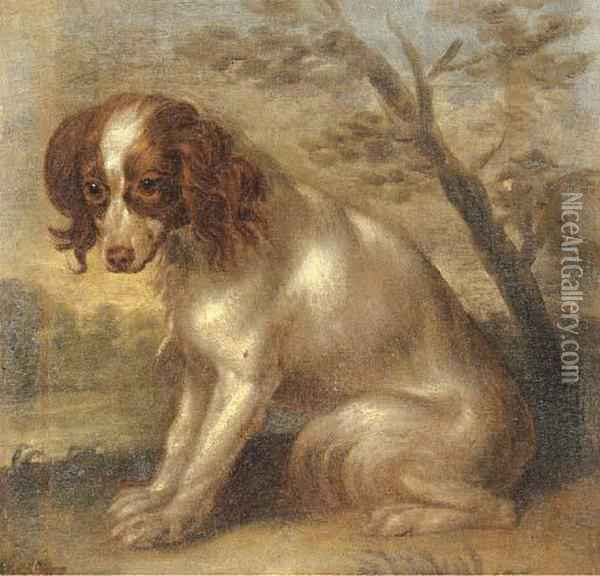A King Charles Spaniel In A Landscape Oil Painting - Charles Collins