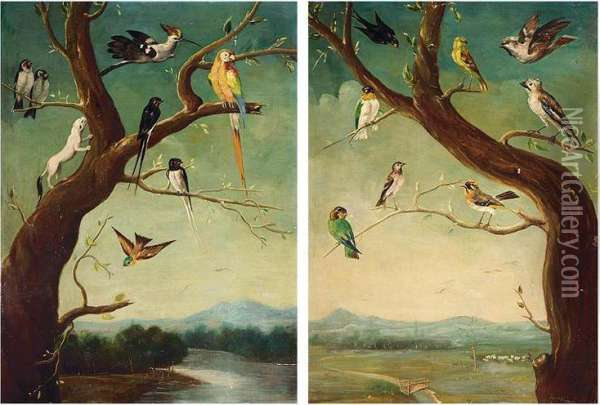 Two Assemblies Of Exotic Fowl Oil Painting - Charles Collins