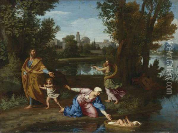 Moses Cast Into The Nile Oil Painting - Nicolas Colombel