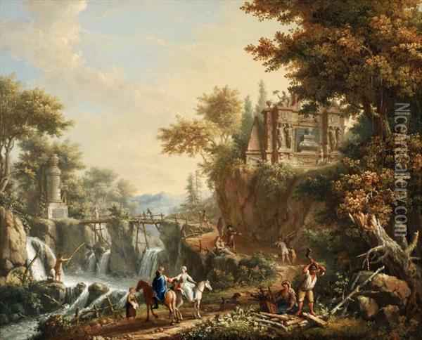 Giovanni Battista Innocenzo Colombo A View On The Environs Of Rome Oil On Canvas Signed I Bi Colomba Lower Right On Rock 44.5 X 54.5 Cm Oil Painting - Giovanni Battista Colombo