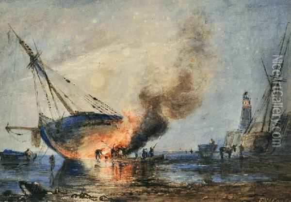 Breaming The Vessel At Night Oil Painting - Ebenezer Wake Cook