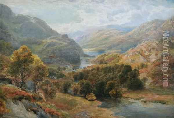 Landscape With River And Bridge Oil Painting - Ebenezer Wake Cook